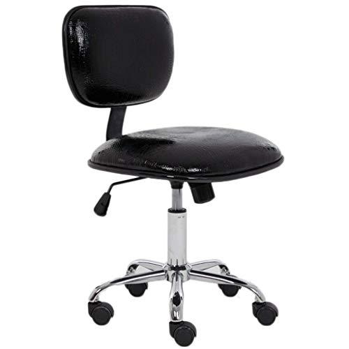 HAOSHUAI Niedriger Schreibtischstuhl mit Swivel Rollen Faux-Leder-Gaslift einstellbar Schwenk (Farbe: Schwarz) (Color : Black)