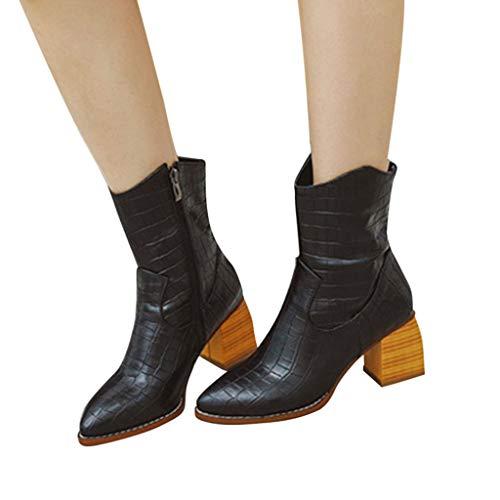 Fenverk Damen Stiefel Leder Plateau High Heel Schlupfstiefel Hoch Langschaftstiefel mit Blockabsatz Winter Schuhe Ankle Boots 6.5cm Gelb, Schwarz, Braun, Grau(Schwarz,43 EU)