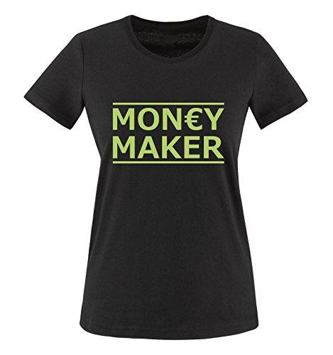 Comedy Shirts - Money Maker - Damen T-Shirt - Schwarz/Grün Gr. L