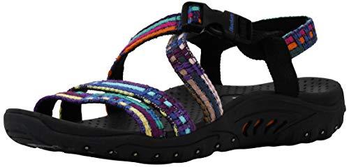 Skechers Women's Reggae-Sew Me-Boho Woven Strappy Slingback Sandal Multi/Black 6 M US