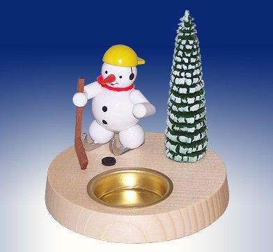 Tea light holder snowman ice hockey candle holder candleholder 10cm Ore Mountains NEW