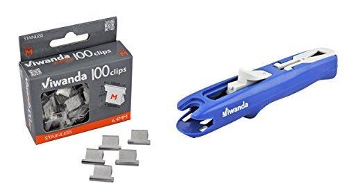 Viwanda - Paper Clipper - Eric Blu - Spara-Mollette per l'ufficio e gli studenti, Clip Dispenser Fast Clam Clip Stapler Fermaglio Cucitrice. Includere pacchetto dotato di 100 mollete taglia 6.4 mm