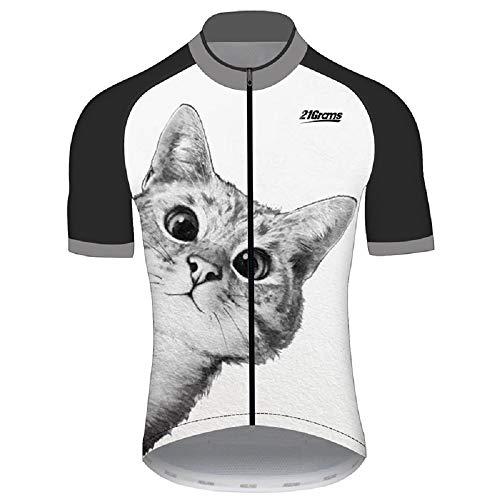 21Grams Maillot de cyclisme pour homme Manches courtes Chat Animal Vélo VTT Vêtements pour cyclisme en plein air Anti-UV Respirant Séchage rapide Réfléchissant (XXL)