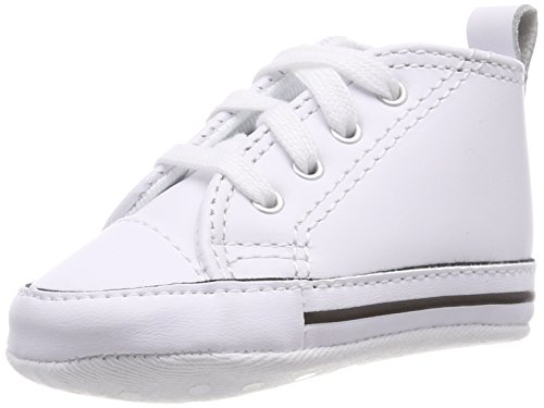 Converse CT Baby First Star Leather High Top Sneaker, White, 3 M US Infant