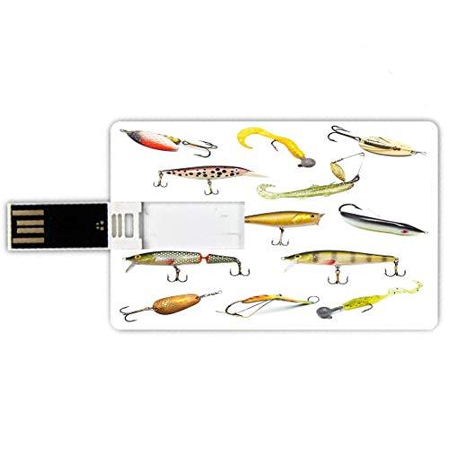 32GB Chiavette USB a forma di carta di credito Pesca Memory Card stile carta di credito Fishing Tackle Bait for Spearing Trapping Catching Aquatic Animals Molluschi Design,Multicolor, Penna impermeabi