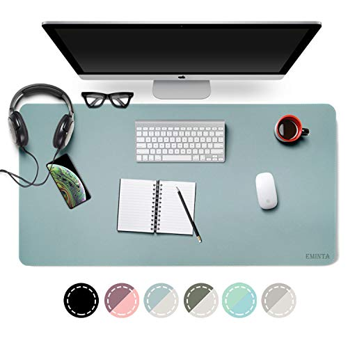 Dual-Sided Desk Pad Office Desk Mat, EMINTA Ultra Thin Waterproof PU Leather Mouse Pad Desk Blotter Protector, Desk Writing Mat for Office/Home (Light Blue/Silver, 31.5' x 15.7')