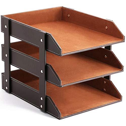 Huante Bandejas apilables de cuero para cartas de oficina organizador de suministros de escritorio, clasificador de archivos, soporte de almacenamiento de escritorio (marrón)
