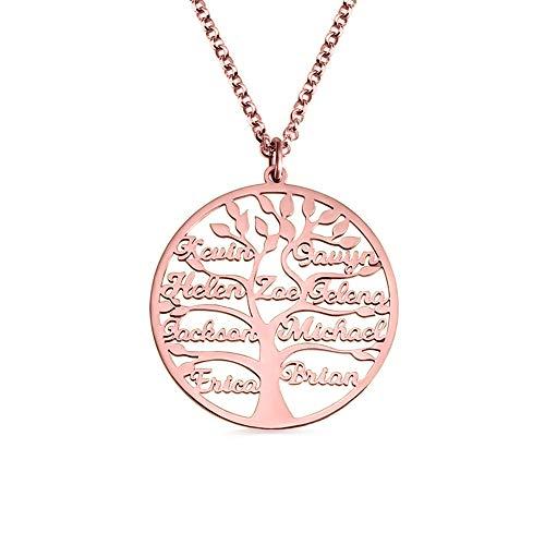 KkllaaWW Name Stammbaum Halskette Personalisierte 925 Silber Halskette Baum Anhänger Muttertag(Roségold 20)