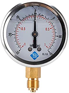 AKDSteel Industrial and Commercial Machine Tool Compound Pressure Vacuum Gauge Glycerin Filled 68mm -1-1bar-30-15inhg/psi ...