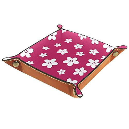 Bandeja cuadrada plegable para dados para juegos de dados DND, caja de almacenamiento para llaves de caramelo, ideal para almacenamiento en oficina, cocina, aula, baño, flor rosa