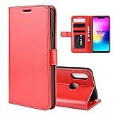 XMTON LG W10 6.19' Custodia,Premio PU Custodia in Pelle con Wallet,Magnete,Slot per Schede Case Cover per LG W10 Smartphone (Rosso)