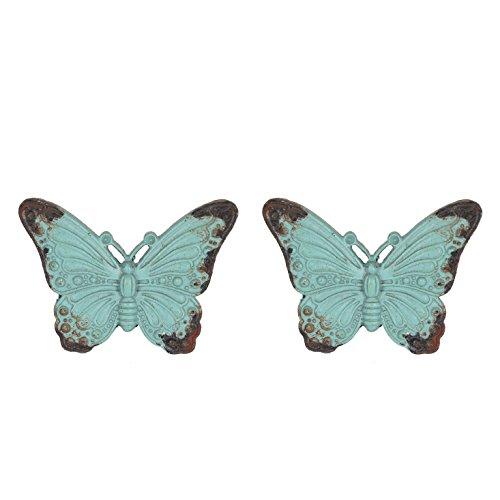 NIKKY HOME 2 Stück Türgriffe aus Griff Schublade zieht Möbel Schrank geformt von Schmetterling Vintage-Stil Dekorative Metall Grün