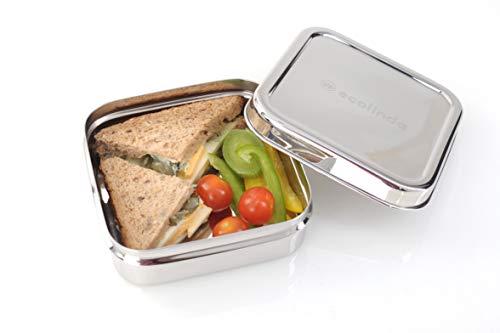 ecolinda®️ Brotdose Edelstahl Maui | plastikfreie quadratische Lunchbox | Klassische BPA-freie Bento Box, ideal für Kinder und Erwachsene | inkl. Nylonband