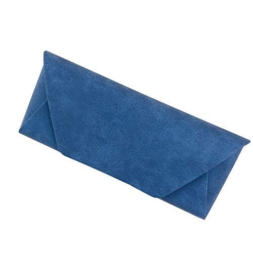 メガネケース サングラスケース おしゃれ めがねケース 眼鏡ケース 軽量 ハード シンプル 使いやすい メンズ/レディース/子供 マグネット式 大きめ かわいい 薄型(メガネ拭き1枚付き)blue