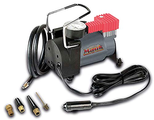 Mauk Auto Kompressor 12V 10 bar mit Druckmanometer, Anschluss über Zigarettenanzünder, inkl. 4 Adapter
