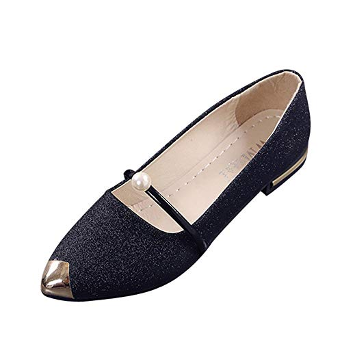 Xinantime Women's Pointed Toe Comfort Flats Slip On Ballet Dressy Shoes for Women Driving Walking Shoes7.5 Black