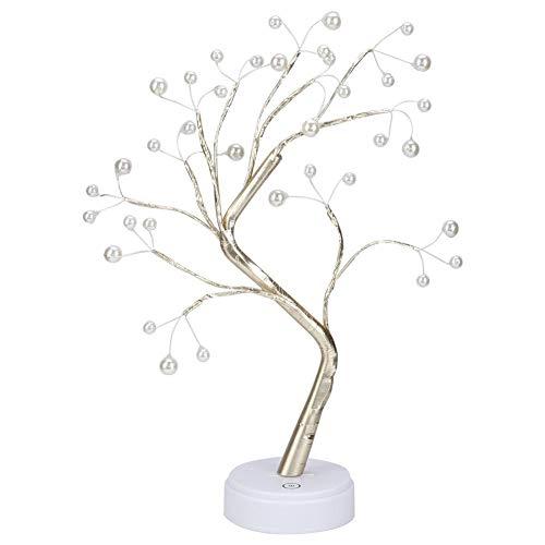 Ymiko 36 LED de Perlas Luz de Mesa Bonsai Tree Light con Interruptor táctil para la decoración del Banquete de Boda en casa (batería/USB)
