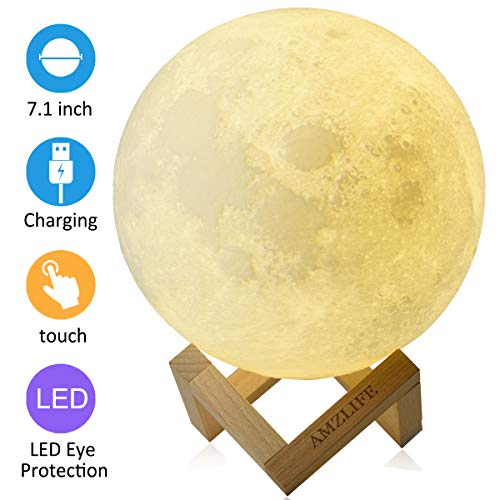 AMZLIFE Moon Lamp, Moon Light 5.9 Inch LED 3D Printing Night Light with Stand Gift for Kids Women...