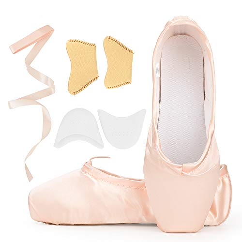 KUKOME-SHOP Satin Ballet Pointe Shoes Dance Shoe with Ribbon and Toe Pads for Girls Women (US8.5 (Foot Length:9.84 inch))