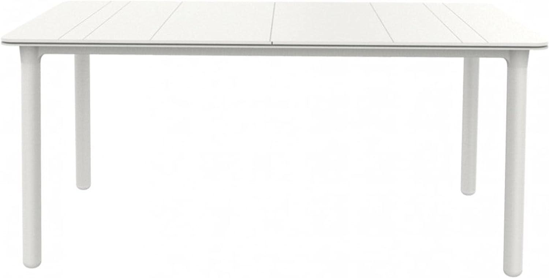 RESOL Noa Mesa de Comedor de Jardín 160x90 Rectangular | 4 o 6 Personas | Elegante y Robusta | Protección UV para Uso Exterior en Patio, Terraza o Porche - Color Blanca