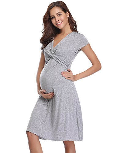 Hawiton Camisón Lactancia Pijama Embarazada Algodón Ropa para Dormir Premamá Manga Corta Hospital Verano (Large, Gris)