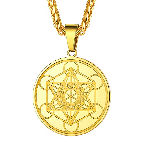 FaithHeart 316L Stainless Steel Metatron's Cube Necklace for Men Boys Gold Plated Kings of The Angels Cube Runic Medal Judaism Jewellery with Chain 22+2'