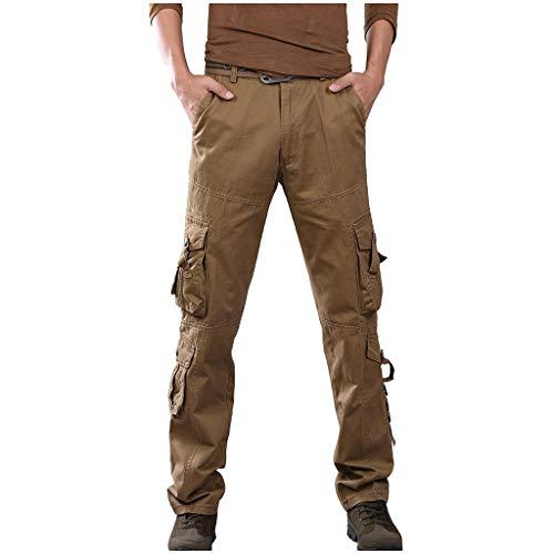 Xmiral Overall Herren Einfarbig Multi-Tasche Draußen Cargohose Gerade Hose Arbeit Reißverschluss Große Größe Hosen(Khaki,38)