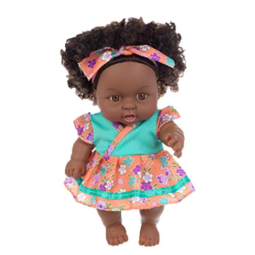 LAIYIFA Black Baby Doll and Clothes Set African Washable Realistic Silicone Baby Dolls with Cute Jumpsuit and Hairband-Best Gift for Kids Girl Age 3 4 5 6 7 Years