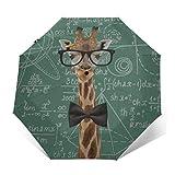 自動三つ折り傘日焼け止め防風UVキリンオタク数学式雨傘男性女性のための壊れにくいコンパクトな折りたたみ傘