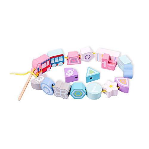 Hengxing Juguete de Rompecabezas de Madera enhebrado Use el Juego de Cuerda para niños pequeños Juguetes educativos con números de Animales Coloridos