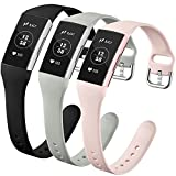 GEAK Compatible with Fitbit Charge 3 Bands/Fitbit Charge 4 Bands for Women, Slim Soft Silicon Replacement Bands for Fitbit Charge 3/Charge 3 SE/Charge 4 Bands Women Men, Small Black/Gray/Sand Pink