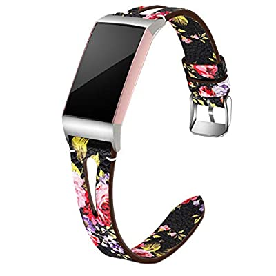 Maledan Compatible with Fitbit Charge 4 and Fitbit Charge 3 Bands for Women Men, Slim Genuine Leather Band for Charge 4/Charge 3/Charge 3 SE Fitness Activity Tracker, Small, Black/Pink Floral