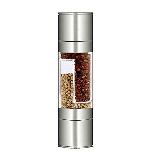 lqgpsx Salz- und Pfeffermühle, manueller Edelstahl 2In1, Keramikrotor, Acrylkörper, Gewürzsalz- und Pfeffermühle, Kochzubehör für Küchenzubehör