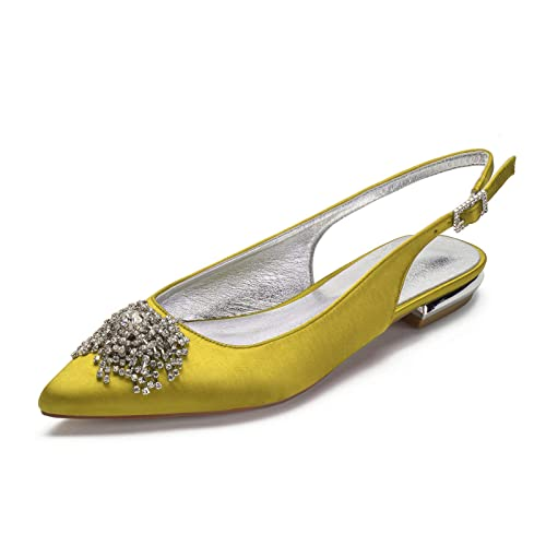 TTOOY Zapatos de tacón bajo para Mujer, Zapatos Planos con Punta Puntiaguda, Correa de Tobillo de satén con Diamantes de imitación, Zapatos de Novia de Bailarina de Boda, Sandalias