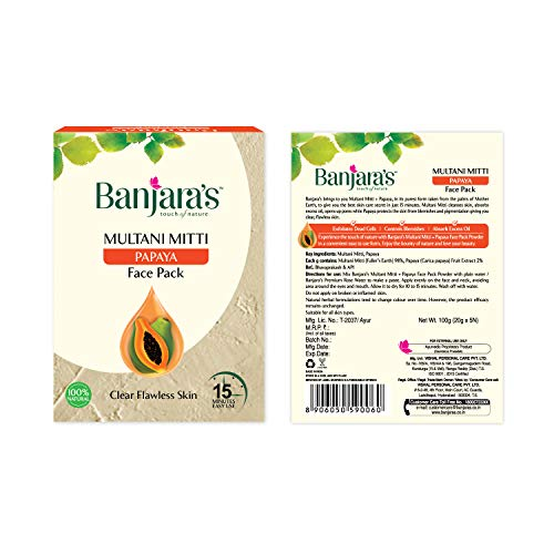 Banjaras Multani with Papaya Face Pack 100g by Bajaras Herbals