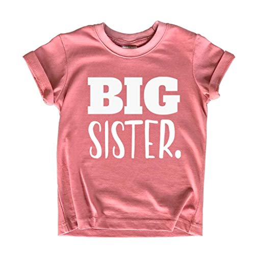 Big Sister Shirt Big Sister Announcement Toddler Shirts Promoted to Girls Outfit (White on Mauve, 2y)