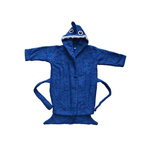 BOMIO | Baby Bademantel Hai | Baby Kapuzen-Bademantel aus 100% Baumwolle | Oeko-Tex Standard 100 Zertifiziert| Made in Germany | 74/80 | Blau