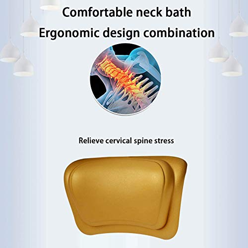 HYCZW Bath Pillow, with 6 Suction Cups Bath Pillow, Ergonomic Home Spa Bath Cushion for Headrest, Neck