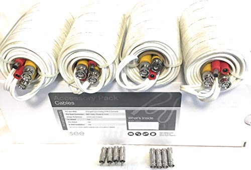 Q-See BNC Video Power Cable (4 Pack 60 Feet) Pre-Made All-in-One Video Security Camera Cable Wire with Eight Connectors for CCTV DVR Surveillance System (60ft) (4pkt)