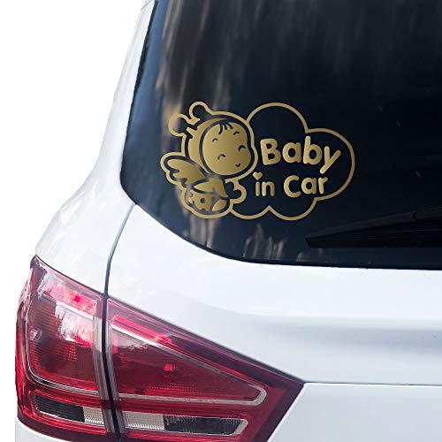 PrintAttack P003   Baby in Car Aufkleber 16,5cm x 10cm Auto Sticker Babyaufkleber Autoaufkleber Vinyl (Gold)