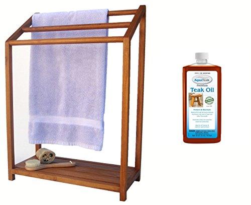 AquaTeak The Original Sula Versatile Teak Towel Rack Premium Teak Oil