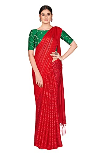Sutram Silk Blend Red Women's Saree with Contrast Blouse Peice
