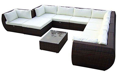 Baidani XXXL Rattan Lounge-Garnitur Extreme, 31-teilig, schwarz