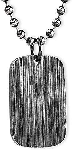 Collar Acero de titanio grueso Collar con colgante personalizado con etiqueta de perro Grabable para hombres Mujeres 28 pulgadas Collar con colgante negro cepillado en cadena para mujeres Hombres