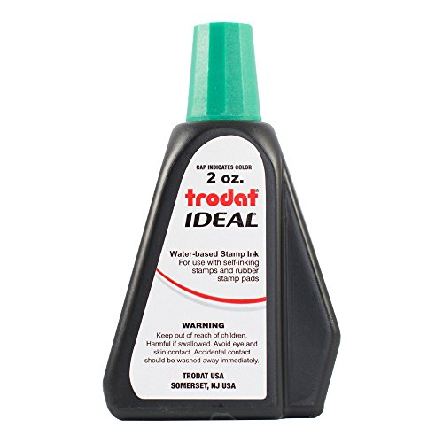 Trodat 53216 Ideal Premium Replacement Ink for Use with Most Self Inking and Rubber Stamp Pads, 2 ounce, Green