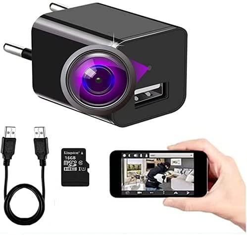 FiveSky Cámara espía Oculta HD 4K con WiFi, Cargador USB, microcámaras, indicador de detección de Movimiento, cámara de vigilancia, Control de aplicación