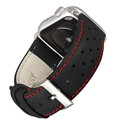 Wildery - Correa de piel auténtica compatible con Apple Watch Series 1/2/3 y 4/5 en negro/rojo, con hebilla de acero inoxidable