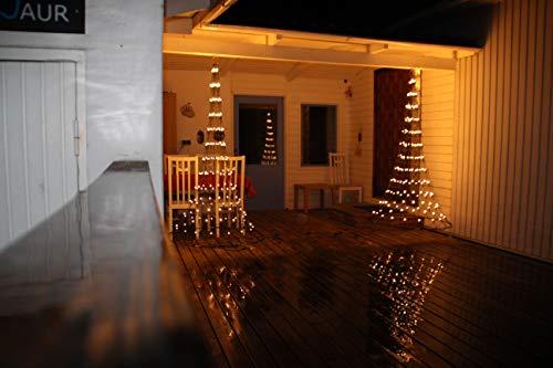 Flagpole Christmas Tree Wall Mounted- 6FT - 192LED - Warm White