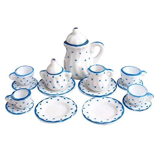 Zhoujinf Miniatur 1: 12 Spielzeug 15 Stück Blaue Blume Porzellan Tee-Set Simulation Puppenhaus Dekorative Accessoires
