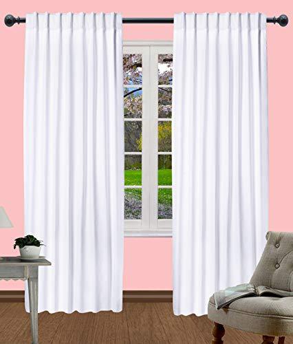 Light & Pro Cotton Duck White Curtains, White Panel Curtains, Dining Room Curtains, Cotton White Curtain, Living Roon Curtain, Tab Top curtain Cotton - 50x72 Inch- White- Set of 2 Panels